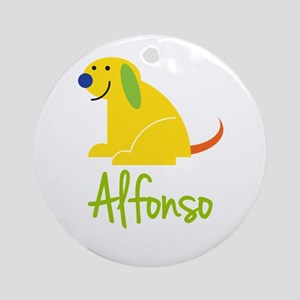 Alfonso Loves Puppies Ornament (Round)