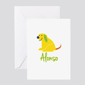 Alonso Loves Puppies Greeting Card