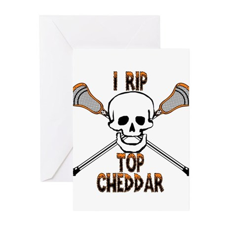 Lacrosse I Rip Top Cheddar Greeting Cards (Pk of 2