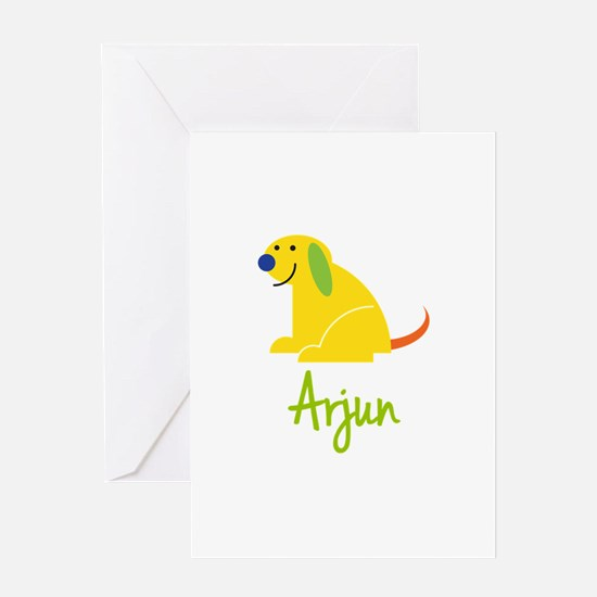 Arjun Loves Puppies Greeting Card