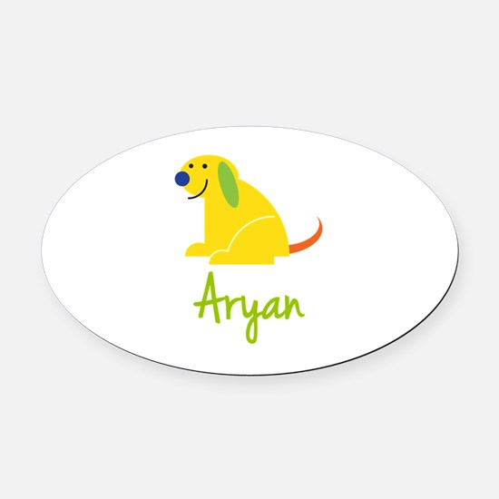 Aryan Loves Puppies Oval Car Magnet