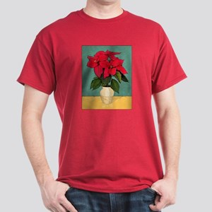 Xmas Van Gogh Poinsettias Dark T-Shirt