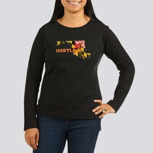 Maryland Flag Women's Long Sleeve Dark T-Shirt
