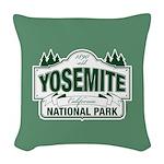 Yosemite Green Sign Woven Throw Pillow