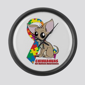 Chihuahuas for Autism Large Wall Clock
