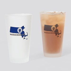 Massachusetts Flag Drinking Glass