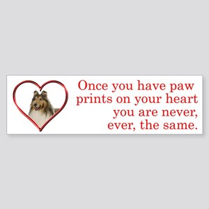 Collie Paw Prints Bumper Sticker