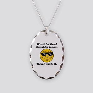 World's Best Daughter-In-Law Humor Necklace Oval C