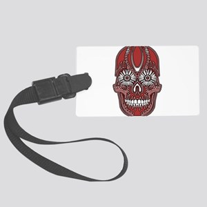 Sugar Skull Red Large Luggage Tag