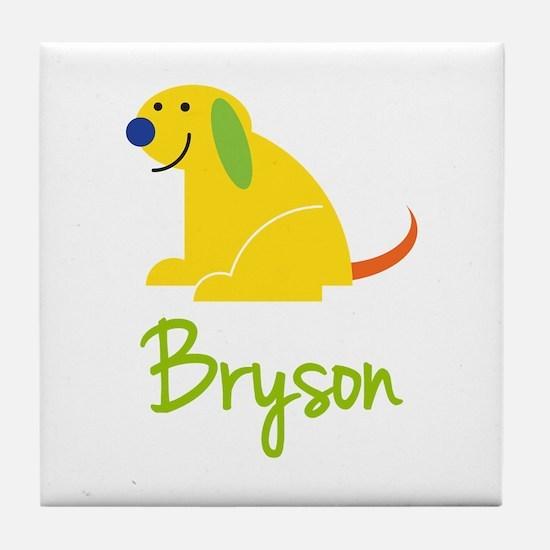 Bryson Loves Puppies Tile Coaster