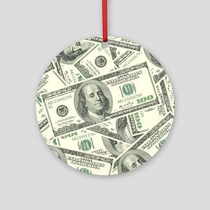100 Dollar Bill Money Pattern Ornament (Round)