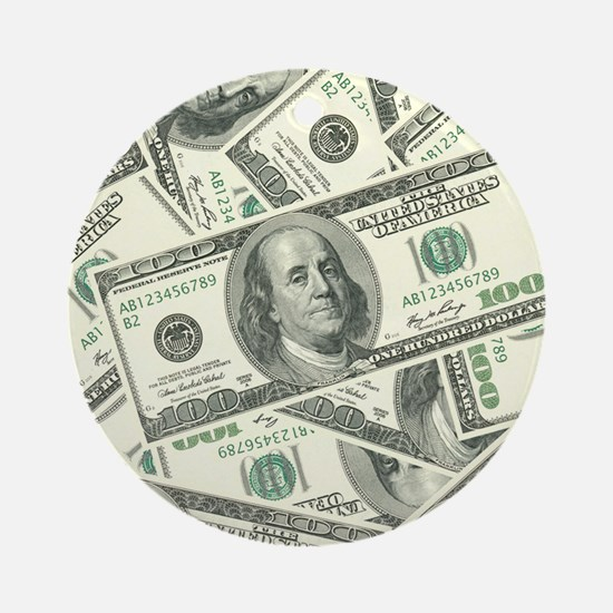 100 Dollar Bill Money Pattern Ornament (Round)