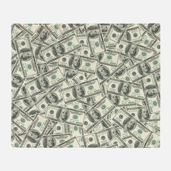 100 Dollar Bill Money Pattern Throw Blanket
