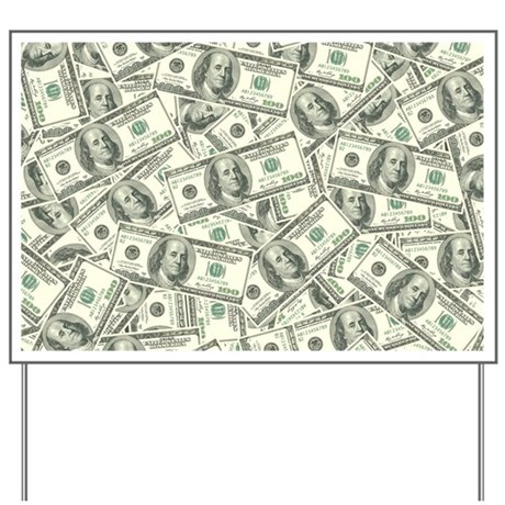 100 dollar bill money pattern yard sign by trendyteeshirts