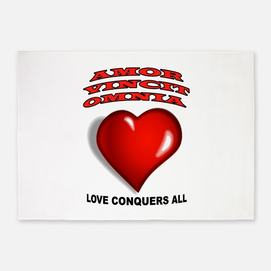 LOVE CONQUERS ALL 5'x7'Area Rug