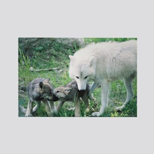 """""""Mother Wolf With Two Cubs"""" Rectangle Magnet"""
