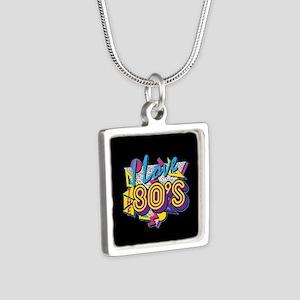 I Love The 80s Silver Square Necklace