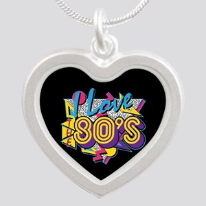 I Love The 80s Silver Heart Necklace