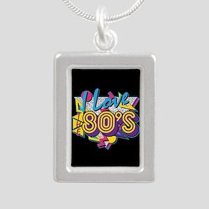 I Love The 80s Silver Portrait Necklace