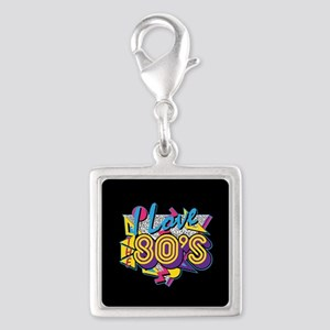 I Love The 80s Silver Square Charm