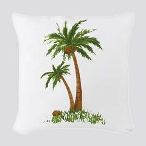 Twin Palm Tree Woven Throw Pillow