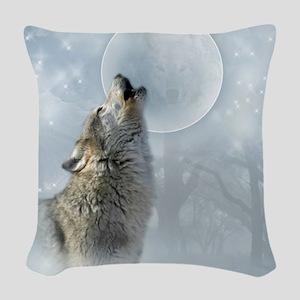 Wolf Blue Moon Woven Throw Pillow
