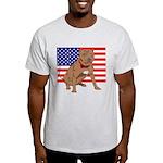 Red Nose Pit Bull USA Flag Light T-Shirt