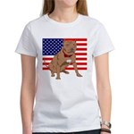 Red Nose Pit Bull USA Flag Women's T-Shirt