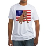 Red Nose Pit Bull USA Flag Fitted T-Shirt