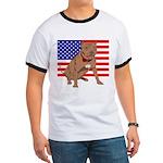 Red Nose Pit Bull USA Flag Ringer T