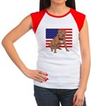Red Nose Pit Bull USA Flag Women's Cap Sleeve T-Sh