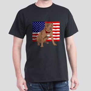 Red Nose Pit Bull USA Flag Dark T-Shirt