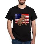 Red Nose Pit Bull USA Flag Dark T-Shirt