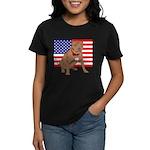Red Nose Pit Bull USA Flag Women's Dark T-Shirt