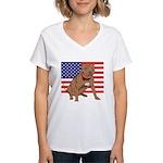 Red Nose Pit Bull USA Flag Women's V-Neck T-Shirt