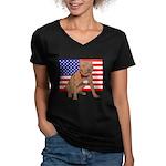 Red Nose Pit Bull USA Flag Women's V-Neck Dark T-S