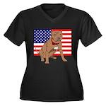 Red Nose Pit Bull USA Flag Women's Plus Size V-Nec