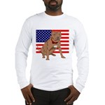 Red Nose Pit Bull USA Flag Long Sleeve T-Shirt