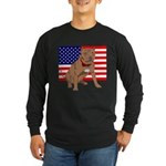 Red Nose Pit Bull USA Flag Long Sleeve Dark T-Shir