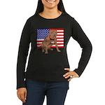 Red Nose Pit Bull USA Flag Women's Long Sleeve Dar