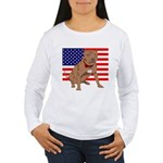 Red Nose Pit Bull USA Flag Women's Long Sleeve T-S