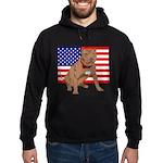 Red Nose Pit Bull USA Flag Hoodie (dark)