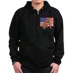 Red Nose Pit Bull USA Flag Zip Hoodie (dark)