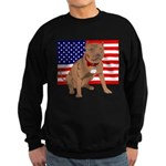 Red Nose Pit Bull USA Flag Sweatshirt (dark)