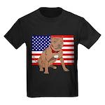Red Nose Pit Bull USA Flag Kids Dark T-Shirt