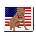 Red Nose Pit Bull USA Flag Mousepad