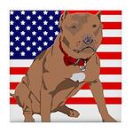 Red Nose Pit Bull USA Flag Tile Coaster