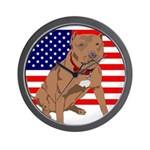 Red Nose Pit Bull USA Flag Wall Clock