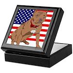 Red Nose Pit Bull USA Flag Keepsake Box