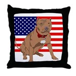 Red Nose Pit Bull USA Flag Throw Pillow